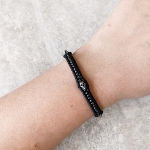 Chan Luu Black Skull Leather Bracelet